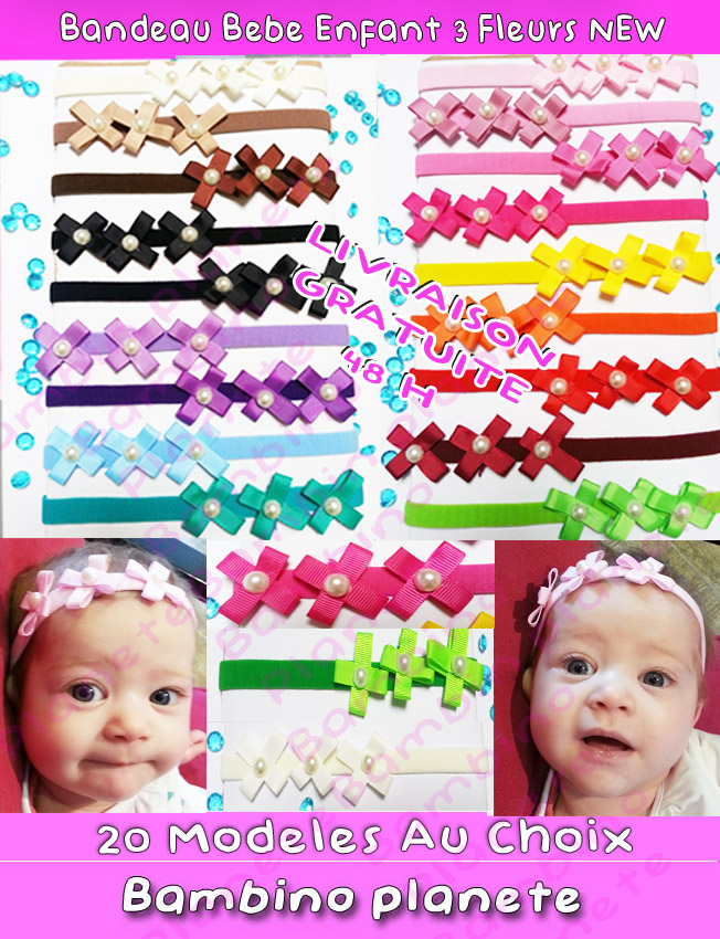 bandeau cheveux fille bebe 0 10 ans 20 couleurs 3 fleurs perle baby headbands. Black Bedroom Furniture Sets. Home Design Ideas
